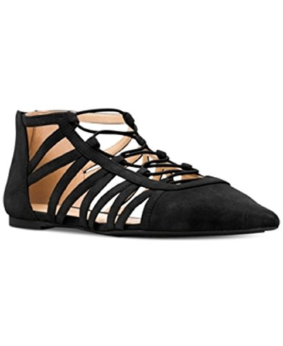 (Michael Kors Clarissa Strappy Lace up Flats Black Suede 5 M)