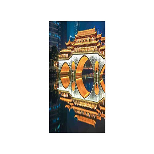 Decorative Privacy Window Film/Major Popular Big Bridge in Chinese City Monumental Classic Building Tower Photo/No-Glue Self Static Cling for Home Bedroom Bathroom Kitchen Office Decor Golden - Monumental Arch