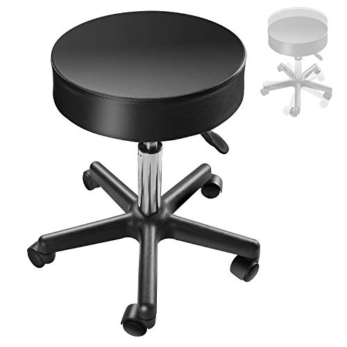 EACHPOLE 360 Degree Pivoting Stool with Rolling Wheels and Hydraulic Height Adjustment for Tattoo Shops, Salons, Drafting, Massage, APL1533