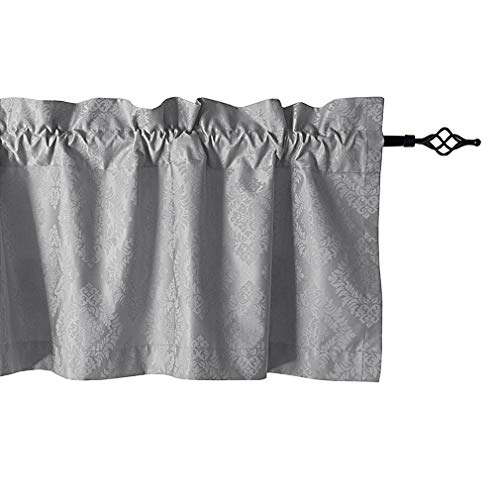 Valea Home Grey Blackout Valances for Windows Floral Pattern Rod Pocket Kitchen Valance Curtains for Baseroom Bedroom, 56