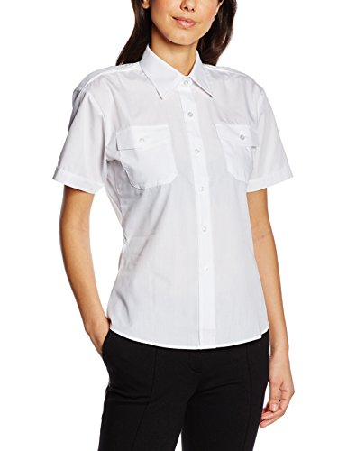 Premier Womens/Ladies Short Sleeve Pilot Blouse/Plain Work Shirt (4 US) (White) Sleeve Pilot Shirt