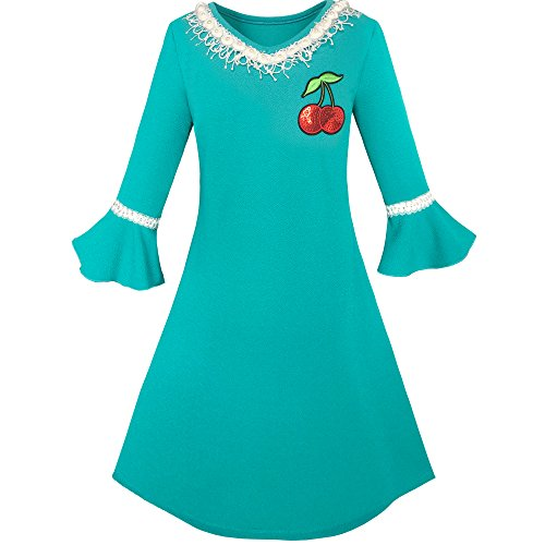 KG46 Girls Dress Lotus Leaf Sleeve Cherry Embroidery Everyday Size 8
