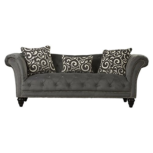 Button-Tufted Sofa, 2 Patterned Accent Pillows, 1 Patterned Kidney Pillow, Sturdy Solid Wood Frames, Sinuous Springs, Brushed Nickel Nail Trim, Medium-Soft Seating (University Classic Sofa)