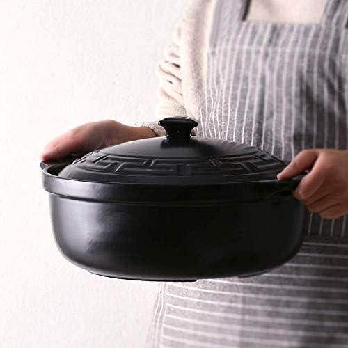 weiwei Marmite à ragoût en céramique résistante à la Chaleur avec Couvercle 28,9 cm 3 litres pour Tous Les poêles sauf cuisinière à Induction,3L