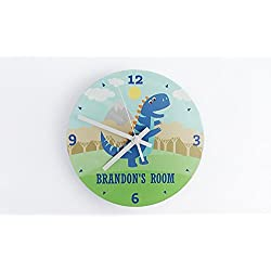 Personalized Kids Wall Clock 8 Inch - Colorful Kids Room Wall Decor, Unique Kids-Gifts (Brandon Design)