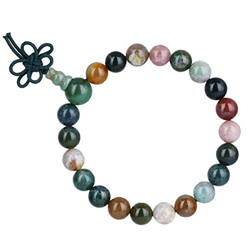 TUMBEELLUWA 8mm Stone Beads Bracelets Prayer Bead Elastic Tibetan Bracelets Bangle Handmade Jewelry for Women Men,Indian Agate Chakra Bracelet