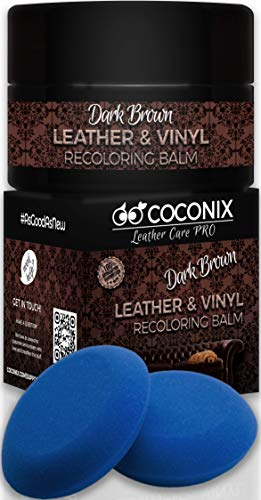 Coconix Leather Recoloring Balm Dark Brown with Applicator - Recolor, Renew, Repair & Restore Aged, Faded, Cracked, Peeling and Scuffed Leather & Vinyl Couches, Boat or Car Seats, Furniture 8 oz