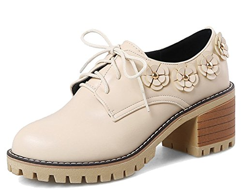 Beige HiEase Oxford High Girls Fashion Loafer Flats Shoes 4 Mid Womens Size Heels Sweet 11 Chunky Flowers ar8aBq