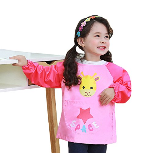 Hosim Children's Art Smock Long Sleeve Waterproof Painting Apron, Kids Lovely Monkey Artist Smocks Play Apron with Large Pocket, Ideal for Painting/Kitchen/Baking (S, (Monkey Toddler Bib)
