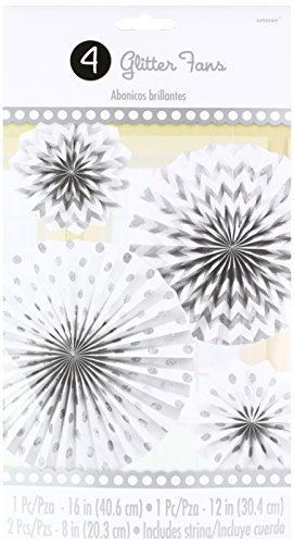 Amscan International White Paper Glitter Hanging Fan Decorat