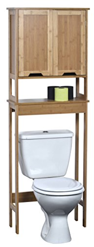 EVIDECO 9904195 Mahe Free Standing Over The Toilet Space Saver Cabinet Bamboo (Bamboo Bathroom Cabinet)