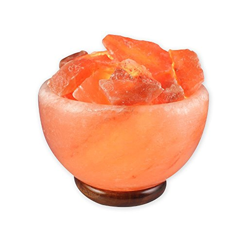 Salt Gems Large Fire Bowl Natural Himalayan Crystal Salt Fire Bowl Lamp With Wood Base and Switch-Cord and 15 W Bulb