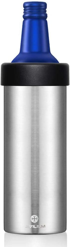 JIVILILM Vacuum insulated Double wall stainless steel can cooler holder for 16oz slim aluminum beer bottles (Stainless Steel)