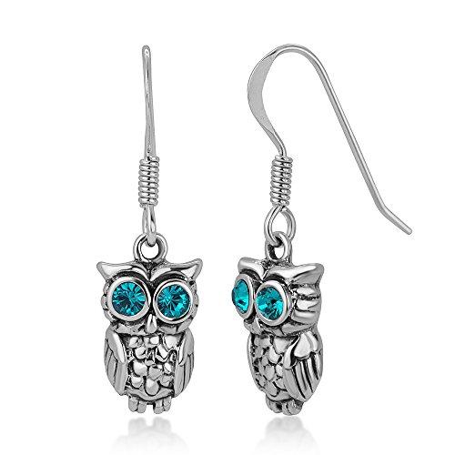 (925 Oxidized Sterling Silver Greenish Blue Eye CZ Stone 2-D Wisdom Owl Dangle Hook Earrings)