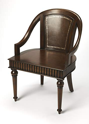 Butler Connoisseur's Medium Brown Square Gemelina Solids, Maple Veneers, Buffalo Leather Geneva Leather Accent Chair