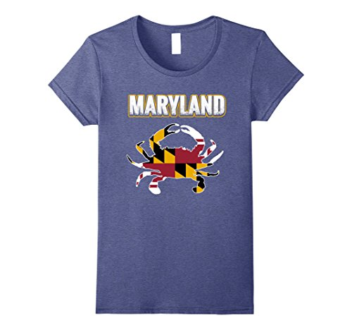 Womens Crab Maryland Flag T Shirt Xl Heather Blue