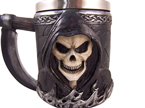A Drink with Death Skull Grim Reaper Coffee Mug Drink Cup, 14 oz