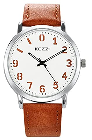 Wutan Mens Watches Brown Leather Strap Stainless Steel Case Sports Casual Classic Analog Quartz Watch Fasion Design Waterproof (Mens Leather Watches Small)