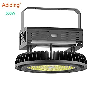 Image of Adiding LED High Bay Light,500W UFO Hi-Bay Lighting(2000W HID/HPS Equivalent) 65000 Lumens 130Lm/W Meanwell Driver Dimmable 5000K,Lumileds SMD 3030 LED for Garage Warehouse,UL Listed,IP65-Black