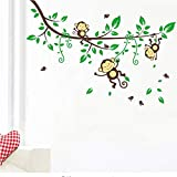 Meaosy Monkey Wall Sticker for Kids Room Decoration Animals Tree Home Decal Bedroom Mural Arts DIY Wall Sticker Peel Stick