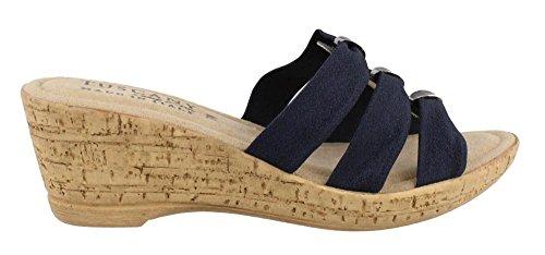Easy Street Women's Tuscany, Andrea Mid Heel Wedge Sandals Navy 7 (Easy Street Mid Heel Sandals)
