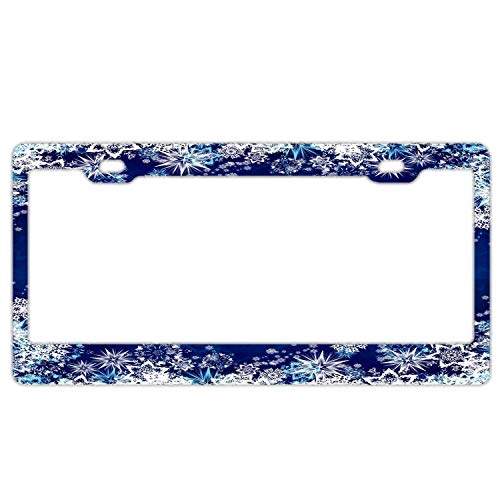 Auto Decorative Frames Blue Snowflakes Girly License Plate Frame for Women/Girls, Slim Aluminum License Tag Frame with Screw Caps - 2 Holes Car License Plate Cover for US Vehicles ()
