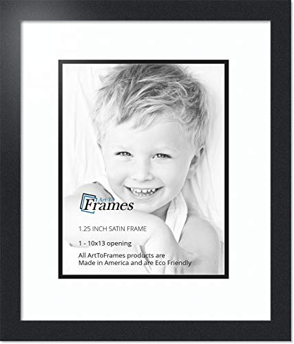 ArtToFrames Collage Photo Frame Double Mat with 1 - 10x13 Openings and Satin Black Frame