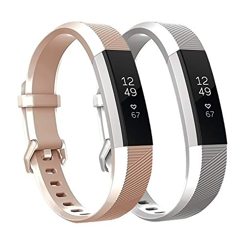 Fundro Replacement Bands Compatible with Fitbit Alta Bands and Alta HR Band, Newest Sport Strap Wristband with Secure Buckle for Women Men Boys Girls, 2- Pack(Rosegold+Silver,Small) ()
