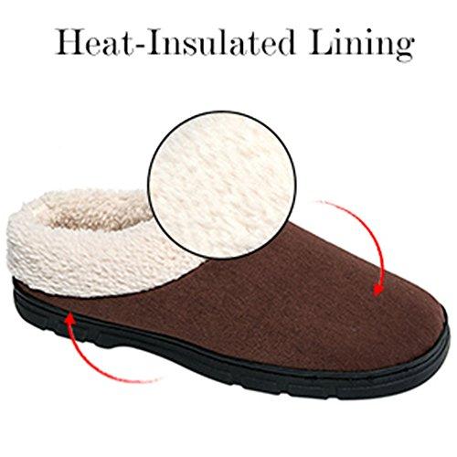 Jackshibo Heren Warme Pantoffels, Comfortabel Heren Heren Schoenen Met Memory Foam Bruin