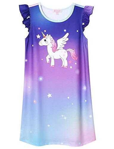 QPANCY Nightgowns for Toddler Girls Flutter Sleeve Cotton Sleepwear Night -