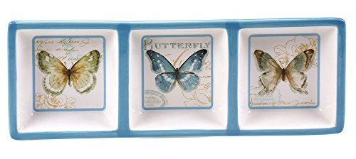 Certified International Table Top - Green House Butterfly 3 Section Relish Tray
