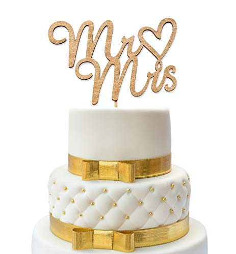 Mr and Mrs Cake Topper - Wedding Cake Toppers - Wedding Cake Topper - Confetti Wedding - Cake Topper Wedding Gold - Wedding Decorations - Wood Topper - Cake Toppers -