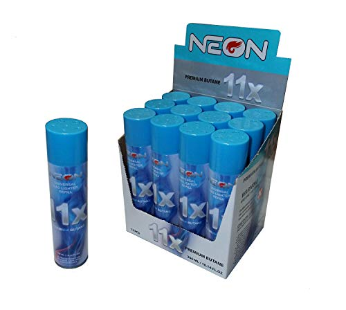 12 Cans of Neon 11x Ultra Refined Butane Fuel Lighter Refill Gas ()