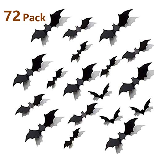 Diy Halloween Decorations Scary (Syolee 72 Pcs Halloween Decoration 3D DIY Decorative Scary Bats Wall Sticker Wall Decal for Home Decor Hallowmas Party)
