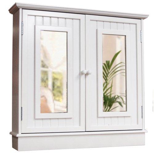 Tallula - White Double Mirror Bathroom Wall Storage Cabinet ...