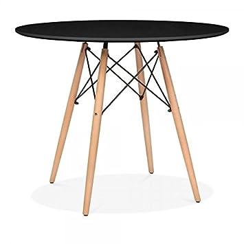 Mmilo Table Salle A Manger Ronde Moderne Noir Diametre 80