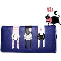 Black Sale Friday Deals Cyber Deals Monday Deals Sales 2018-Valentoria Birthday Gifts for Women's Mini Faux Leather Bifold 3 Cat Design Clutch Wallet