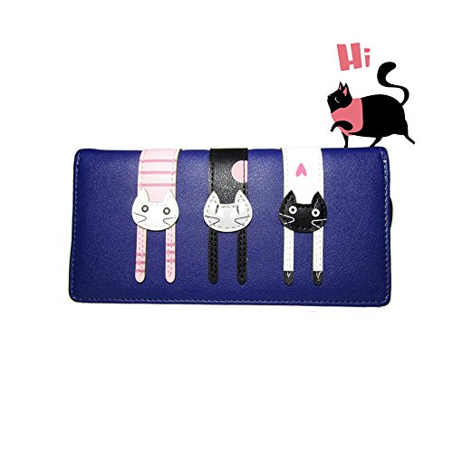 Year End Clearance Sale-Valentoria Birthday Gifts for Women's Mini Faux Leather Bifold 3 Cat Design Clutch Wallet(Long Navy Blue)