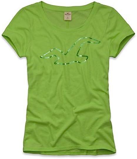Hollister - Camiseta - Clásico - Manga Corta - para mujer verde verde claro: Amazon.es: Ropa y accesorios