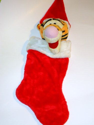 Disney Tigger Christmas Stocking Plush Head Santa Hat Winnie the Pooh