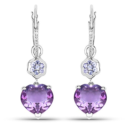 Solid Tanzanite Earrings - 5.52 Carat Genuine Amethyst, Tanzanite and White Topaz Solid .925 Sterling Silver Heart Earrings