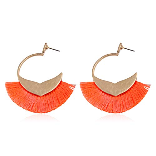 (Bohemian Silky Thread Tassel Strand Fringe Statement Hoop Earrings - Lightweight Semi Circle Fan Threader Dangles (Mermaid Tail Hoops - Neon Coral))