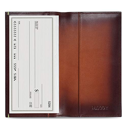 HISCOW Minimalist Checkbook Cover - Full Grain Leather (Brush-Off Brown) Cowhide Leather Checkbook Cover