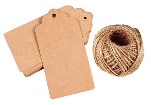 HipGirl 100PCS Brown Kraft Paper Wedding Christmas Gift Tags, Price Label, Sale Tags, Bonbonniere Favor with Free 100 Feet Natural Jute Twine
