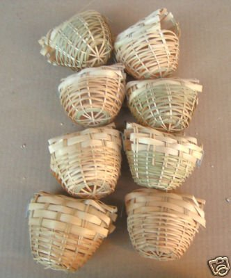 Finch Bird Bamboo Covered Bird Nest Lot of 8 -- Small