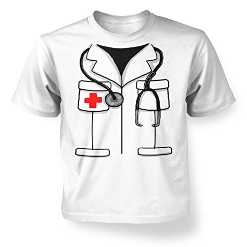Doctor Costume Kids T-shirt - White S (5-6) (Nurse Outfit Costume)
