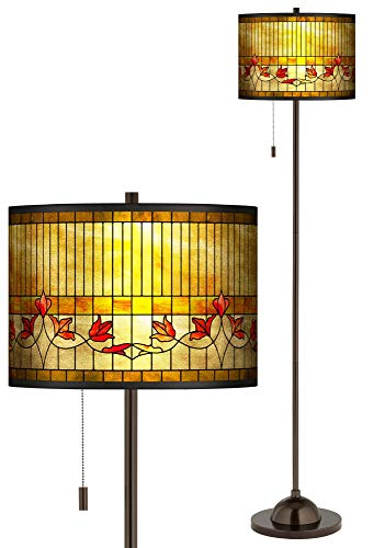 Tiffany-Style Lily Gold Metallic Giclee Bronze Club Floor Lamp - Giclee Glow (Lamp Lily Tiger)