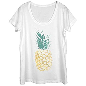 Lost Gods Distressed Pineapple Womens 2XL Graphic Scoop Neck - Lost Gods