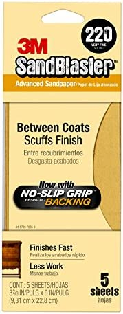 3M 11220-G Sandpaper with No-Slip Backing Gold 220-Grit 3-2//3-Inch x 9-Inch