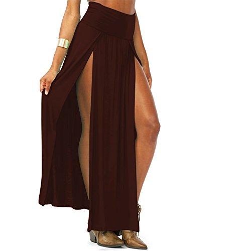 MEXI Women Cotton Blends Trends High Waist Double Slits Sexy Maxi Skirt Coffee (Sexy Long Skirts)